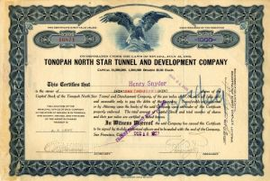 Tonopah North Star Tunnel and Development Company - Stock Certificate