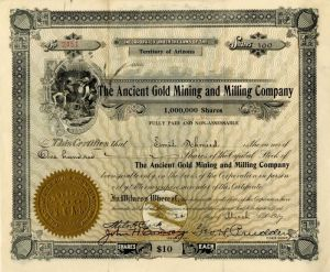Ancient Gold Mining and Milling Company - Stock Certificate