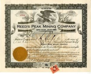 Reed's Peak Mining Company - Stock Certificate