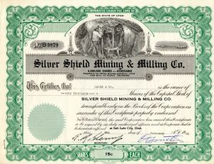 Silver Shield Mining & Milling Co. - Stock Certificate - SOLD