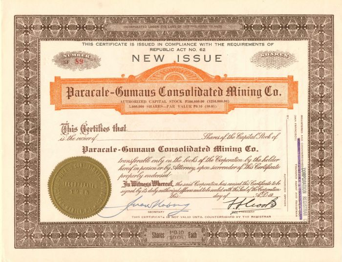 Paracale-Gumaus Consolidated Mining Co. - Stock Certificate