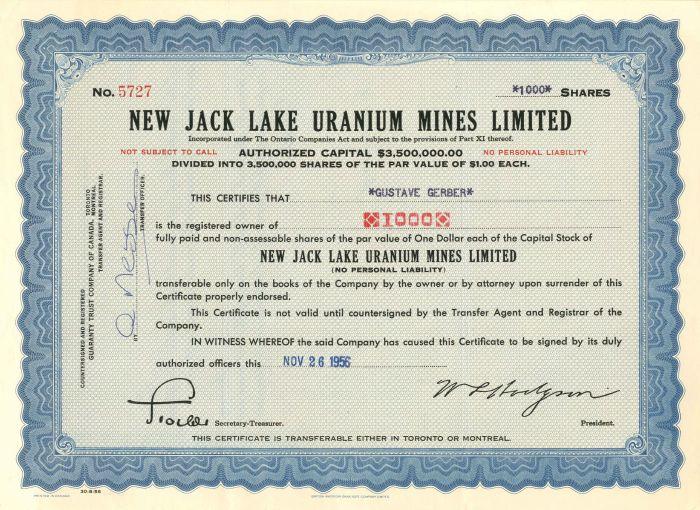 New Jack Lake Uranium Mines Limited - Stock Certificate