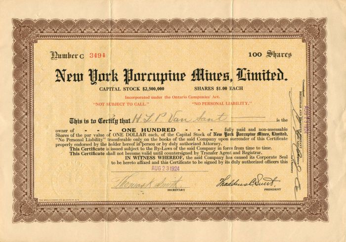 New York Porcupine Mines, Limited - Stock Certificate