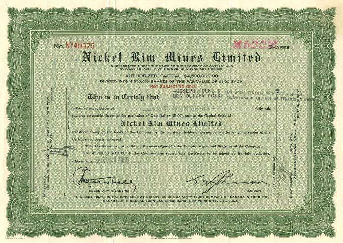 Nickel Rim Mines Limited - Stock Certificate