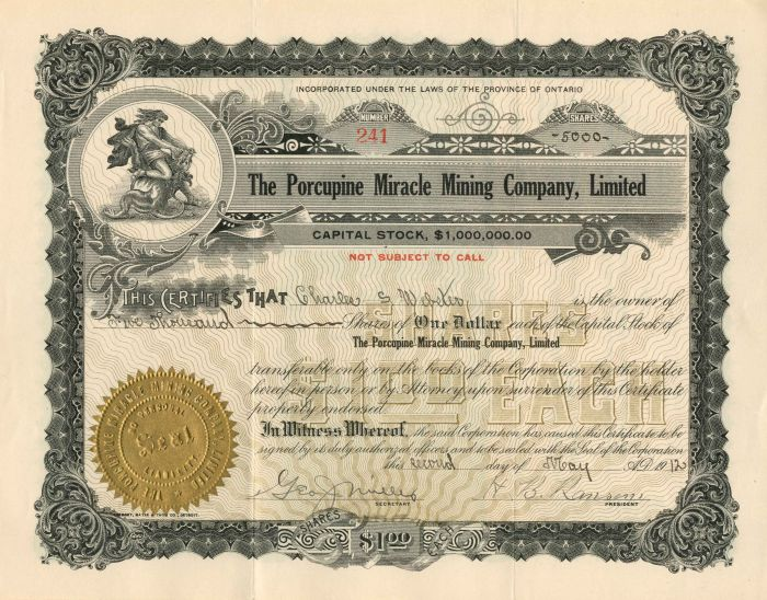 Porcupine Miracle Mining Company, Limited - Stock Certificate