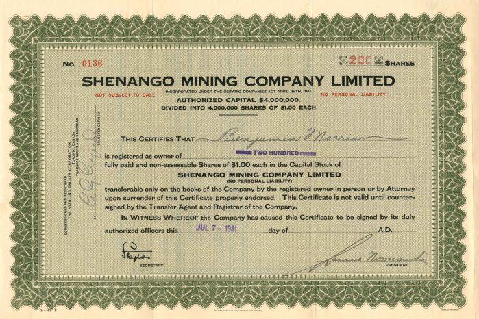 Shenango Mining Company Limited - Stock Certificate