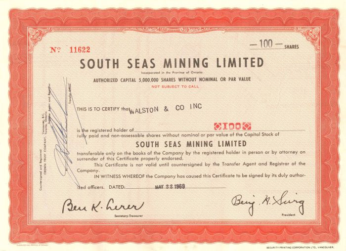 South Seas Mining Limited - Stock Certificate