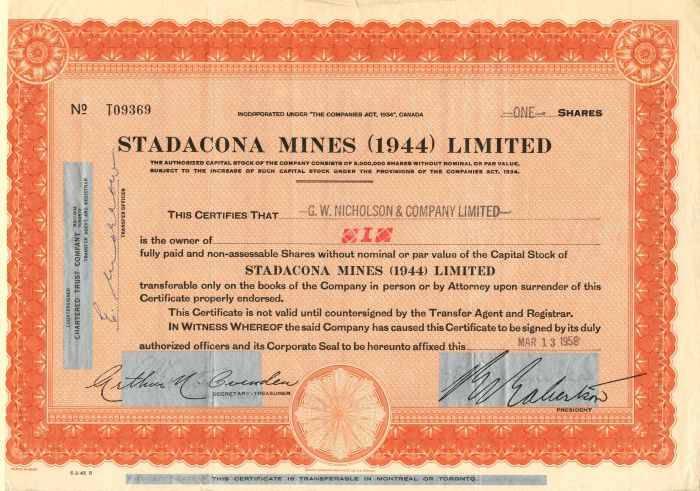 Stadacona Mines (1944) Limited - Stock Certificate