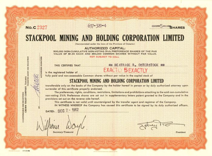 Stackpool Mining and Holding Corporation Limited - Stock Certificate