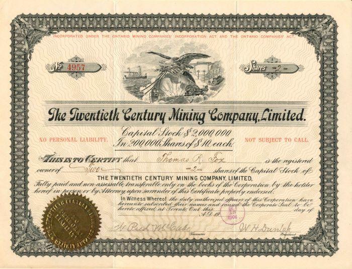 Twentieth Century Mining Company, Limited - Stock Certificate