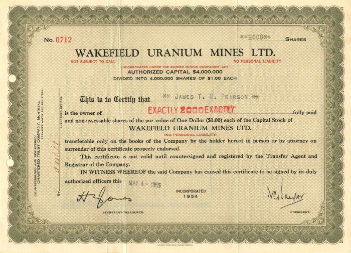 Wakefield Uranium Mines Ltd. - Stock Certificate