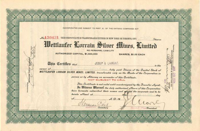 Wettlaufer Lorrain Silver Mines, Limited - Stock Certificate