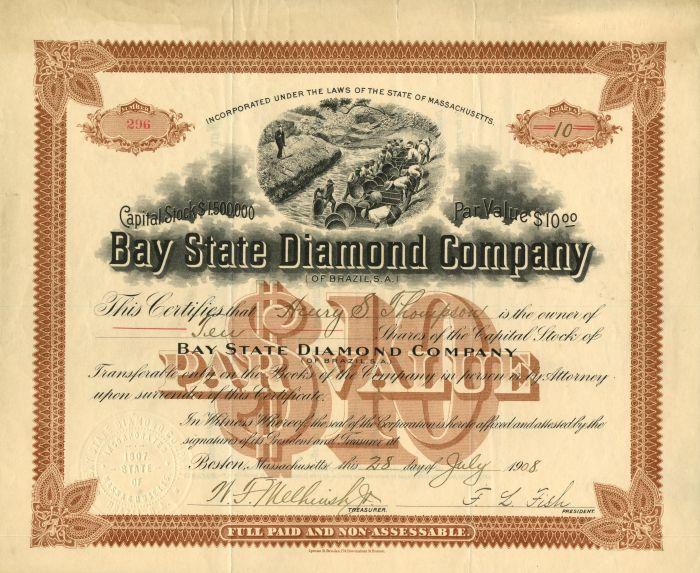 Bay State Diamond Company of Brazil, S. A. - Stock Certificate