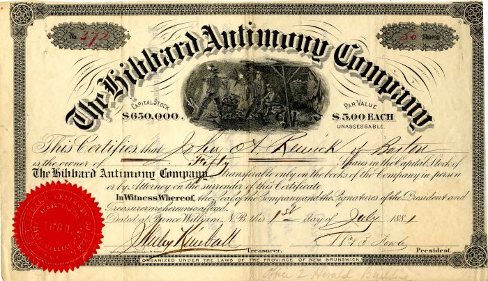 Hibbard Antimony Company - Stock Certificate