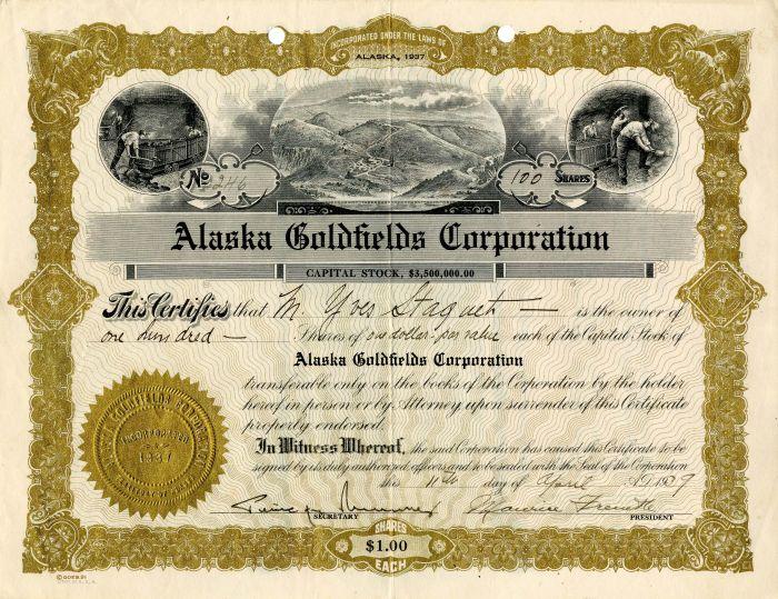 Alaska Goldfields Corporation - SOLD