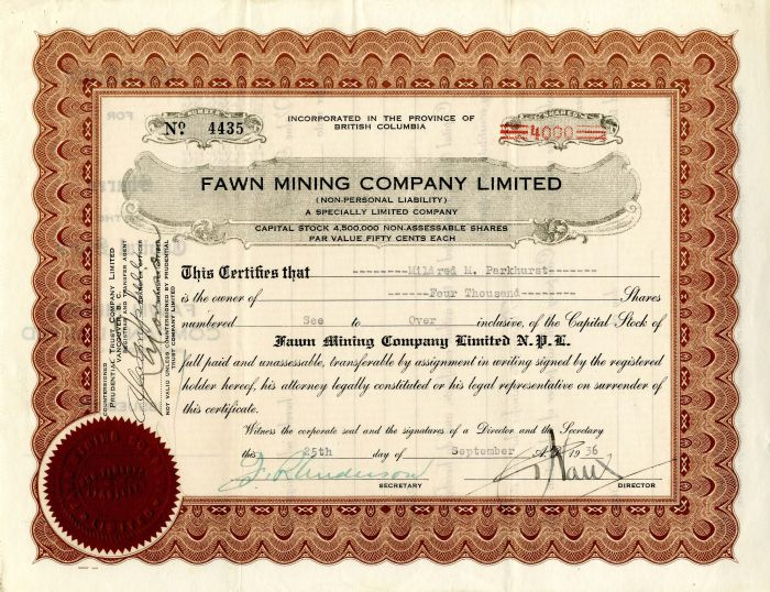 Fawn Mining Company Limited - Stock Certificate