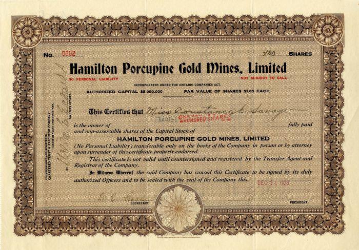 Hamilton Porcupine Gold Mines, Limited