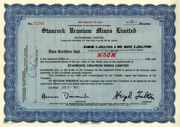 Stanrock Uranium Mines Limited