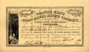 Granite State Gold and Silver Mining Company - SOLD