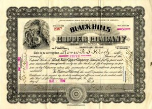 Black Hills Copper Company - Stock Certificate