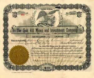 Gold Hill Mines and Investment Company - Stock Certificate