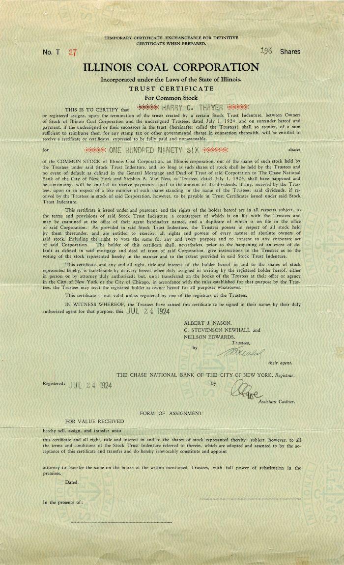 Illinois Coal Corporation - Stock Certificate