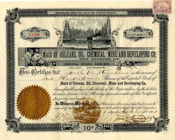 Maid of Orleans, Oil, Chemical, Mine and Developing Co. - Stock Certificate