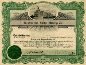 Boston and Idaho Milling Co. - Stock Certificate
