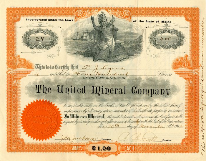 United Mineral Company - Stock Certificate