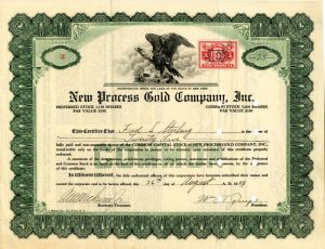New Process Gold Company, Inc. - Stock Certificate