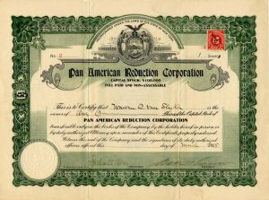 Pan American Reduction Corporation - Stock Certificate