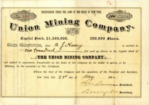 Union Mining Company - Stock Certificate