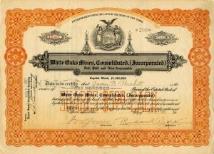 White Oaks Mines, Consolidated, (Incorporated) - Stock Certificate