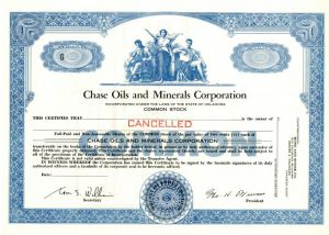 Chase Oils and Minerals Corporation - Stock Certificate - SOLD