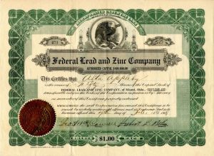 Federal Lead and Zinc Company - Stock Certificate - SOLD