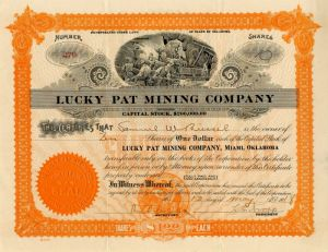 Lucky Pat Mining Company - Stock Certificate - SOLD