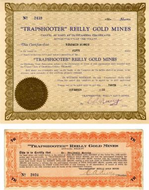 """Trapshooter"" Reilly Gold Mines - Stock Certificate"