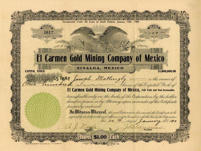 El Carmen Gold Mining Company of Mexico - Stock Certificate