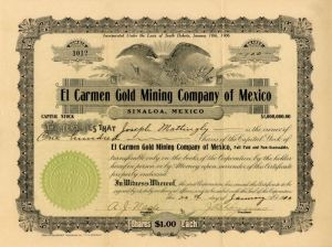 El Carmen Gold Mining Company of Mexico - Stock Certificate