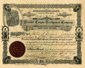 Pleasant Canyon Development Company - Stock Certificate