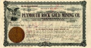 Plymouth Rock Gold Mining Co. - Stock Certificate