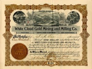 White Cloud Gold Mining and Milling Co. - Stock Certificate