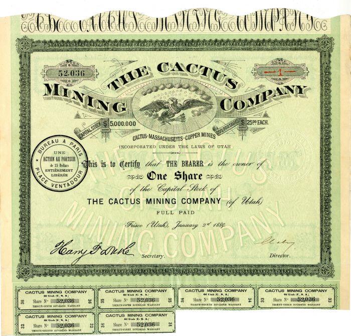 Cactus Mining Company - Stock Certificate