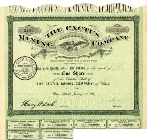Cactus Mining Company - Stock Certificate