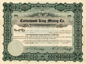 Cottonwood King Mining Co. - Stock Certificate