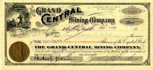 Grand Central Mining Company - Stock Certificate