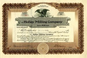 Holley Milling Company - Stock Certificate