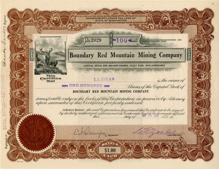 Boundary Red Mountain Mining Company - Stock Certificate