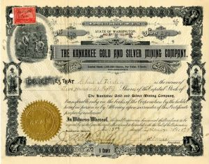 Kankakee Gold and Silver Mining Company - Stock Certificate
