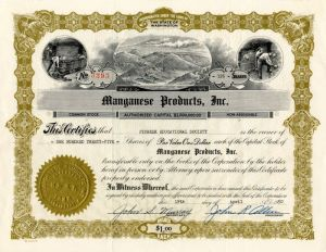 Manganese Products, Inc. - Stock Certificate